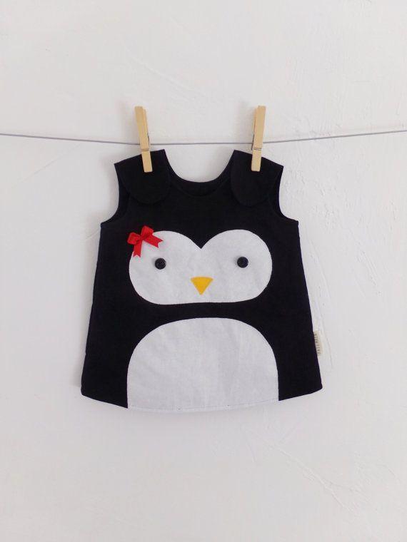 Infant Penguin Dress, 100% cotton, Handmade, Kids Christmas Outfit, Winter, Photo prop, Baby, Children, Toddler, Cute, Newborn-3 years