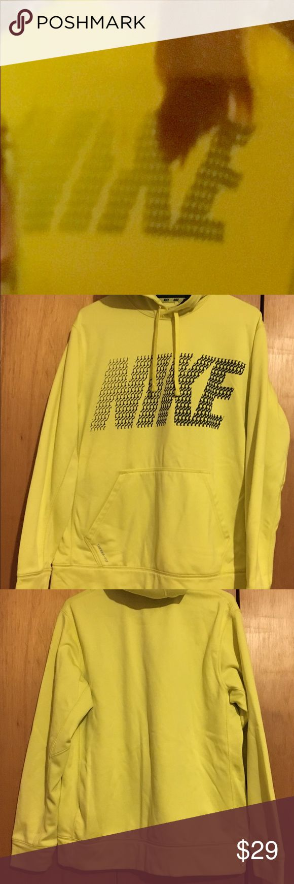 Women's Nike Neon Yellow Wordmark Hoodie Women's Nike Neon Yellow Wordmark Hoodie Therma-Fit Made in Vietnam Size: Medium, Large Fit RN#56323 CA#95553 Body: 100% Polyester Hood Fleece Lining: 100% Polyester Exclusive of Decoration Machine Wash Cold Wash With Like Colors Do Not Use Softeners Remove Immediately Do Not Allow to Lay on Itself When Wet Do Not Bleach Tumble Dry Low Do Not Iron Do Not Dry Clean Nike Tops Sweatshirts & Hoodies
