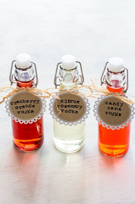 How to make your own DIY infused vodkas in flavors like candy cane or cranberry-citrus for holiday gifts.
