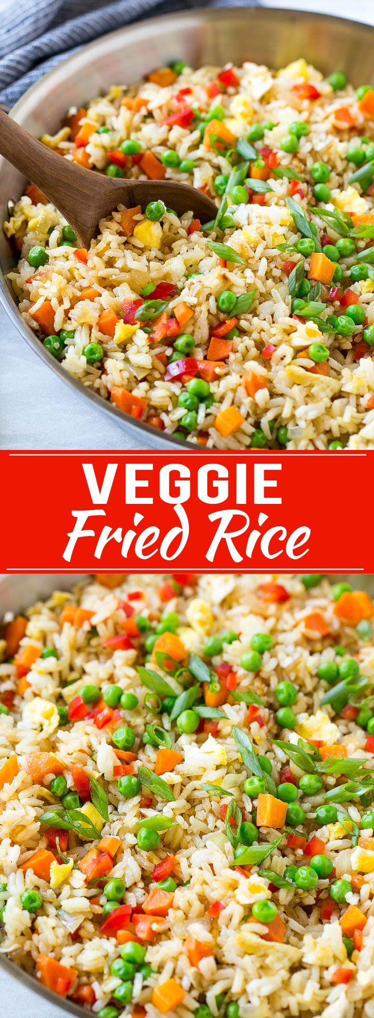 This recipe for veggie fried rice is chock full of colorful veggies and is ready in just 20 minutes! It's the perfect quick and easy side dish to any P.F. Chang's Home Menu® skillet meal that the whole family will love. #WokWednesday #sponsored