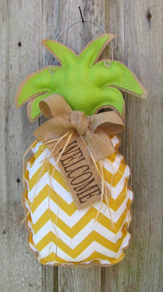 Pineapple WELCOME Sign  / Burlap Pineapple Wreath  / Burlap Door Hanger / Door Wreath / Spring Wreath / Home Decor on Etsy, $40.00
