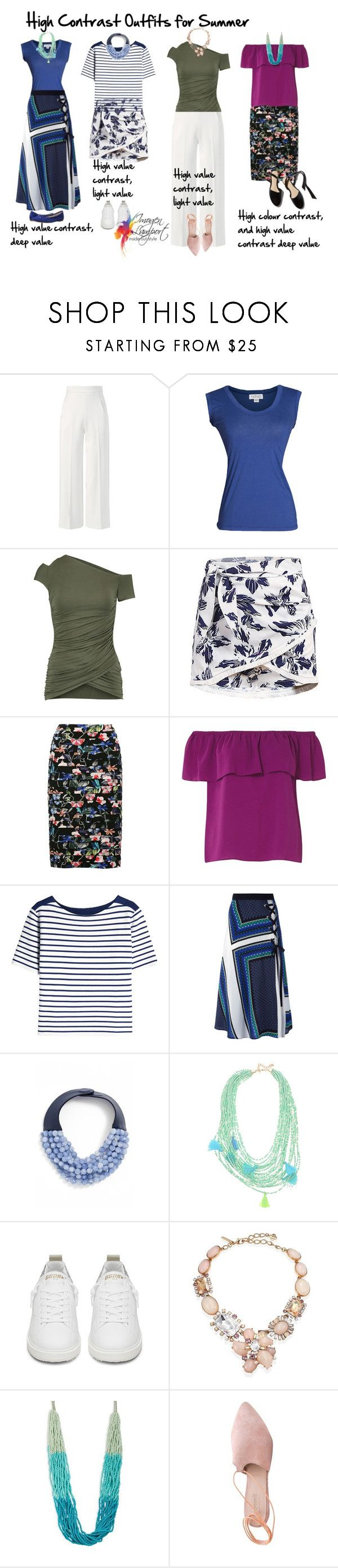 """""""high contrast outfits for summer"""" by imogenl ❤ liked on Polyvore featuring Roland Mouret, Velvet by Graham & Spencer, Bailey 44, M&Co, Dorothy Perkins, Burberry, MSGM, Fairchild Baldwin, Golden Goose and Oscar de la Renta"""