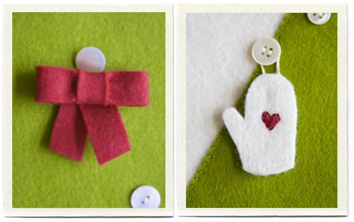 Felt ornaments for each pocket of the advent calendar to be hung on buttons scattered across the tree.  Love the star on top, presents below.