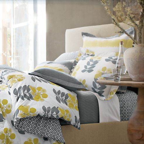 Yellow, grey, and tan. Top Ten Sites for bedding