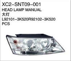 XC2-SNT09-001 Head lamp manual L92101-3K520   R92102-3K520 PCS Auto Parts,car body parts,head lamp,fog lamp,tail lamp,bumper,hood,side mirror replacement http://www.jsxcauto.com/