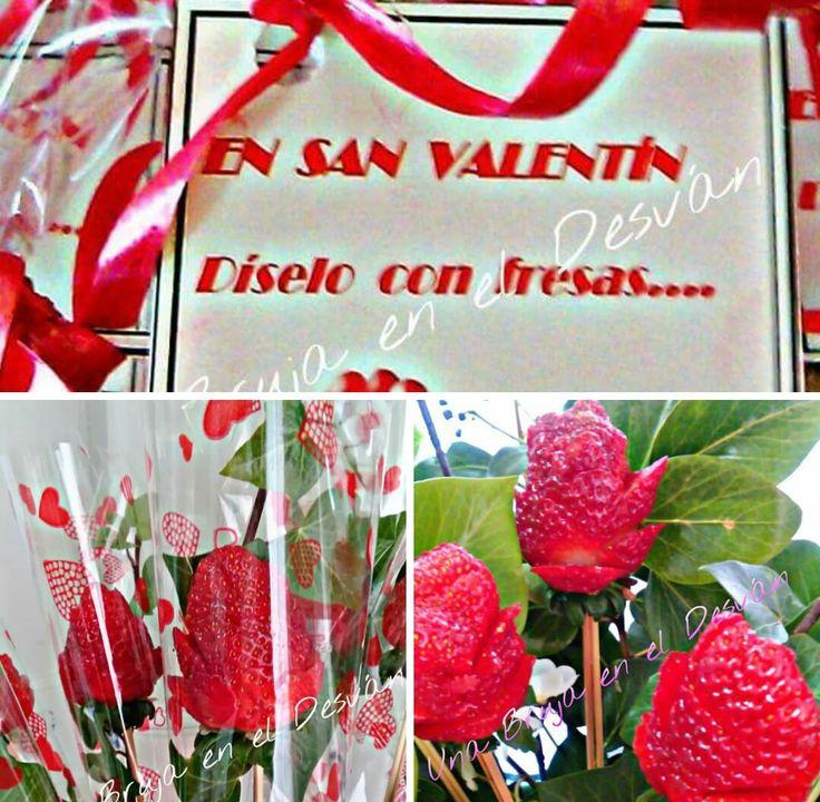 En San Valentín, diselo con fresas.... Ramo de fresas talladas a mano. Este 14 de febrero enamora con este detalle tan original y saludable. Cestas o ramos de fresas talladas por Montse el Desván Creativo de Brujita