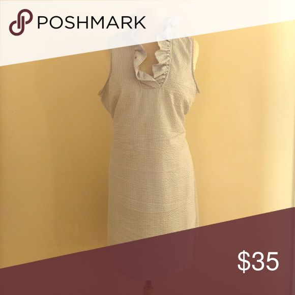 Seersucker dress. Basically brand new! Perfect lightweight spring/summer seersucker dress! Worn once for a casual garden wedding. Size L (12-14). Hits at about the knee, depending on height. Stylish ruffled collar. Dresses