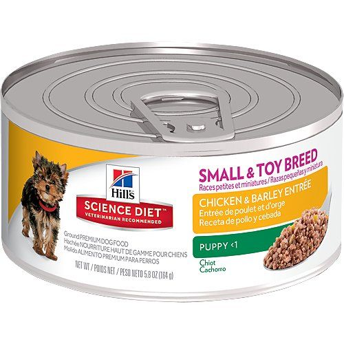 Hill's Science Diet Small & Toy Breed Puppy Chicken Entree Canned Dog Food has a great taste and precisely balanced nutrition to help build immunity and support mobility. Superior nutrition from high-quality ingredients enhances better overall health. This delicious formula promotes gentle and healthy digestion and has a savory meaty taste your puppy will love!