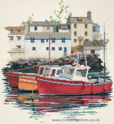 Fishing Village Cross Stitch Kit from Derwentwater Designs