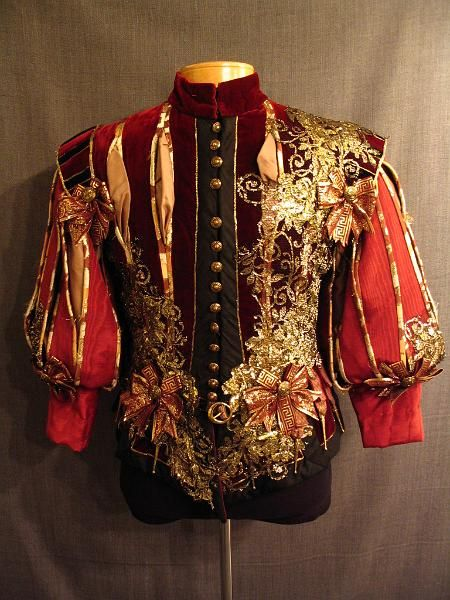 OSF Costume Rentals: 09007140 Doublet Cavalier, red velvet moire gold lace, C38.JPG