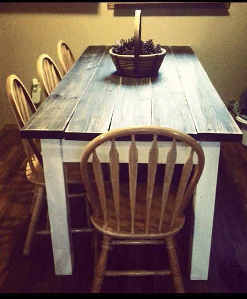 unique primtiques primitive distressed dark walnut stained country white farmhouse farm kitchen cabin table custom sizes colors avail decor