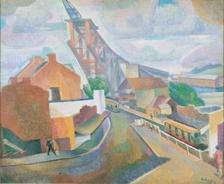 'The bridge under construction' 1928, Roland Wakelin, oil on composition board.
