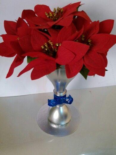 Reciclaje ♻ de botella de plástico.. puede ser florero o para colocar golosinas.