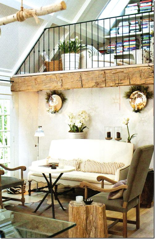 Gorgeous Space With Rustic Elements Perfect Solution For Small Spacesa Living Room On The Main Level A Library Reading Nook Above