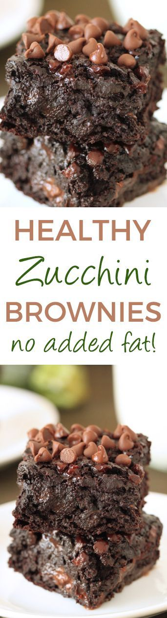 Chocolate Zucchini Brownies - 100% whole grain (can also be made with all-purpose flour), dairy-free, and they have no added fat other than what is in the chocolate chips! So gooey and chocolaty, nobody will have a clue that these are made healthier! (Vegan Cake Zucchini)