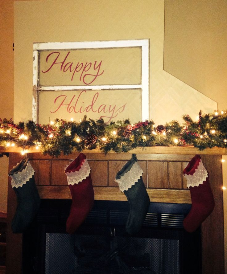Happy Holidays Sign With A Barn Window Christmas Fire