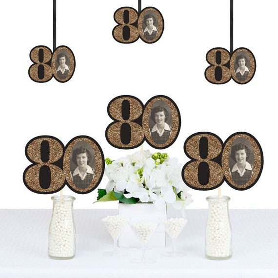 Adult 80th Birthday - Gold - DIY Photo Birthday Decorations Party Essentials - 20 Count
