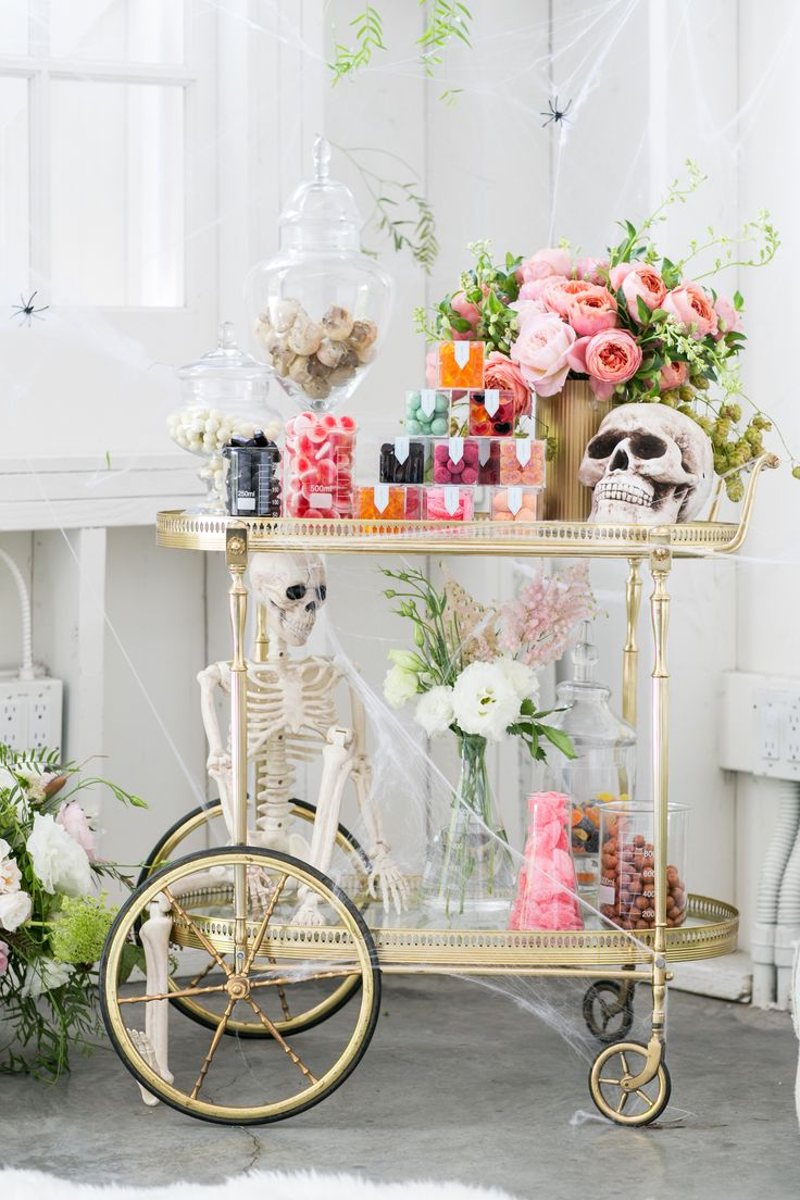 The perfect Halloween bar cart for adults! Candy by Sugarfina Styled by Sugar and Charm Photo by Mad Citizen