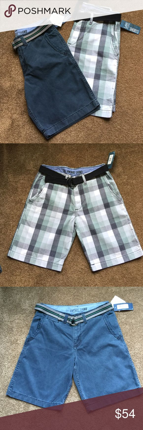 "NWT Pair of Men's Lee Dungaree Shorts NWT men's Lee Dungaree short set! There are two back pockets, two front pockets and are flat front style. They each come with a belt and have a 10"" inseam. Each pair has a retail value of $54.00 Lee Shorts Flat Front"