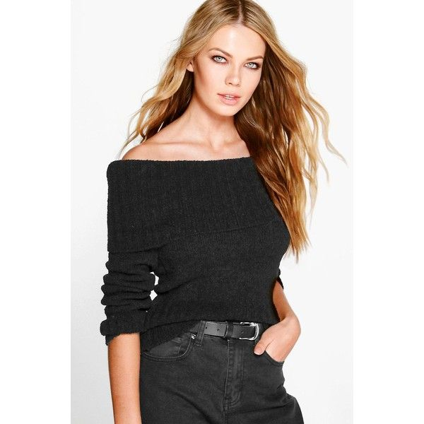 Boohoo Charlotte Bardot Jumper ($26) ❤ liked on Polyvore featuring tops, sweaters, black, party tops, turtleneck sweater, marled sweater, animal print sweater and wrap top