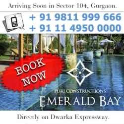 Puri Emerald Bay a new residential project from Puri Construction offering luxurious residential apartments in Sector 104 Gurgaon with all basic facilities and amenities at very attractive price points. To know more about this project Call us: +91 9811 999 666, +91 11 4950 0000