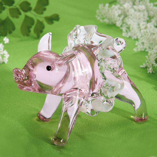 lenox figurines | Exclusive Piggy Pirouette Art Glass Figurine by Lenox