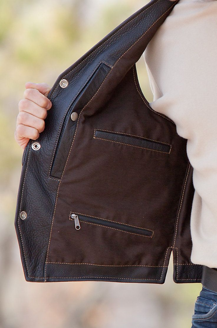Men's Garrison Bison Leather Vest with Concealed Carry Pockets by Overland Sheepskin Co. (style 20908)