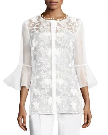 Elie Tahari Avon Bell-Sleeve Embroidered Organza Blouse, White