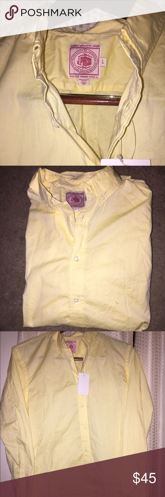 "J. Press ""Perfect Oxford Shirt"" Size L J. Press ""Perfect Oxford Shirt"" in a pale yellow with button down collar - Size L.   Brand new with tags. Retail price: $88 (regularly more; price reduced for Trunk Club collaboration).   ""Jacobi Press first founded J. Press on Yale University's campus in 1902. In its own words, the brand has outfitted ""U.S. Presidents, statesmen, scholars, and captains of industry."" All the while, the company has ignored trends, devoting itself to quality, classic…"