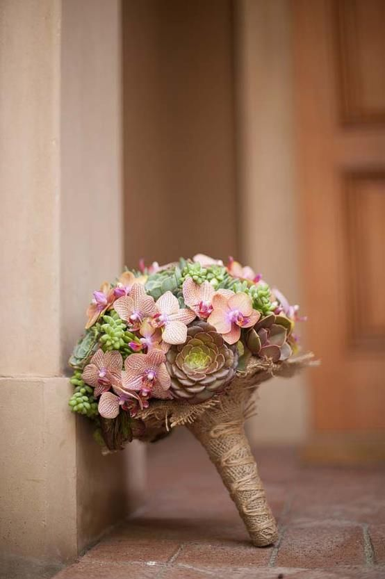 .Rustic Chic with burlap and orchids