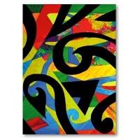 Koru (fern) collage.  painted background, black paper koru shapes