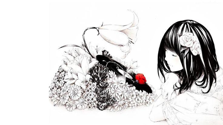 Dziewczyna, Kwiaty, Rysunek