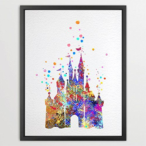 Dignovel Studios 13X19 Cinderella Disney Princess Castle Watercolor illustration Art Print Wall Art Poster Home Decor Art Wall Hanging Kids Art Birthday Gift N002