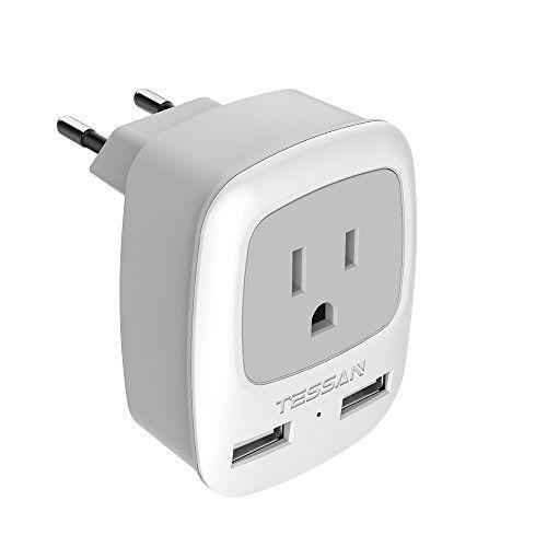 5PCS US USA  to EU Europe Power Jack Wall Power Plug Converter Travel Adapter