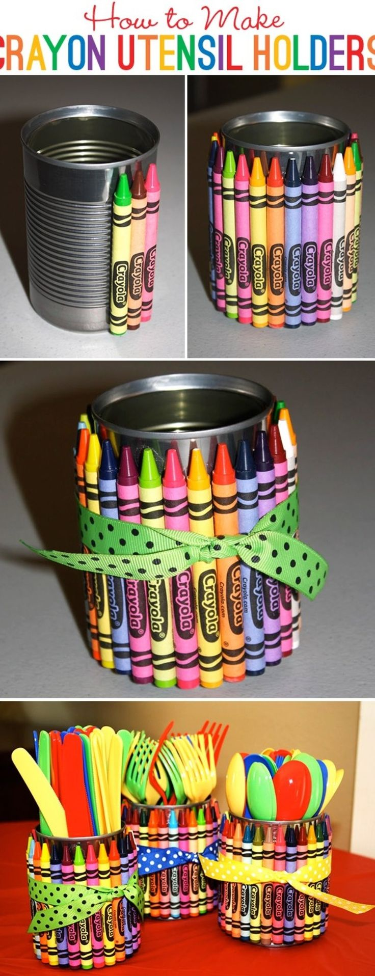 crayon utensil/pen holders. Can also use a glass votive for candle holder.