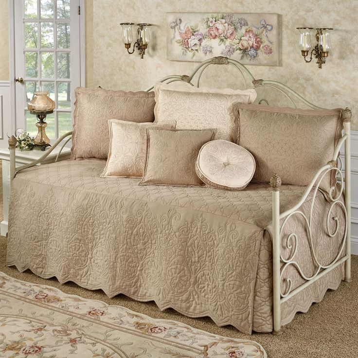Everafter almond quilted daybed bedding set daybed