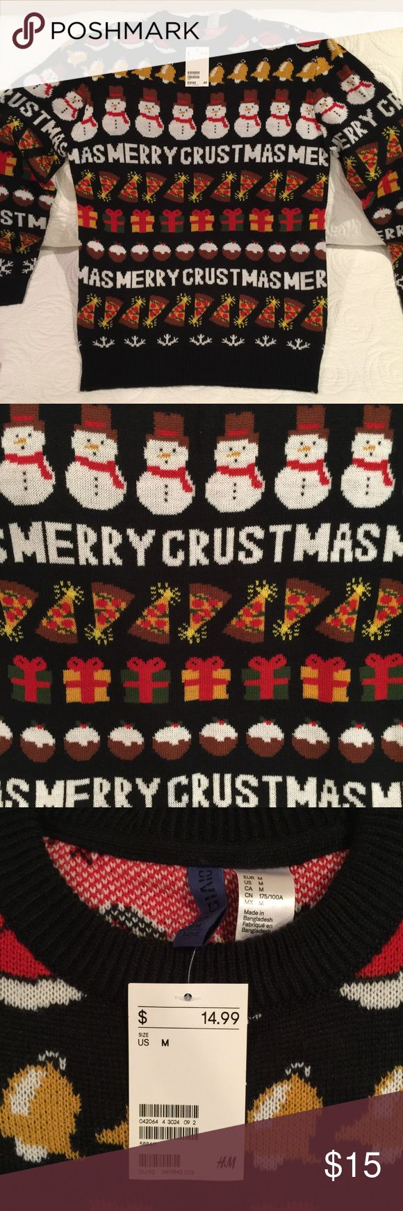 Pizza Ugly Christmas Sweater New with Tags. H&M men's Christmas sweater. Merry Crustmas with Rudolph pizza slices. Super cool sweater. Men's size medium, but great for girls, as well, to wear as a oversized sweater or even a dress. Smoke/pet free home. Open to offers! Bundle and save! H&M Sweaters Crewneck