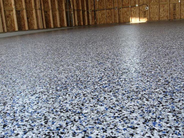Grauer Epoxidboden Mit Blauen Flocken In 2020 With Images Garage Floor Paint Garage Epoxy Epoxy Floor