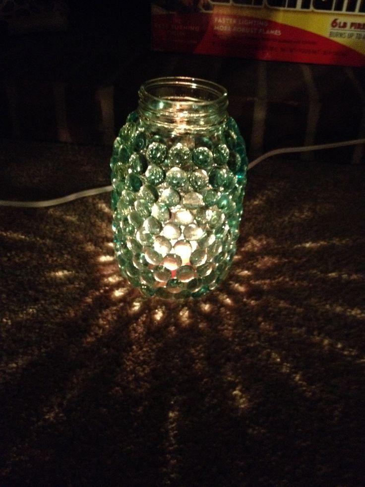 Mason Jar Marble Lamp Hot Glue Marbles Around Mason Jar