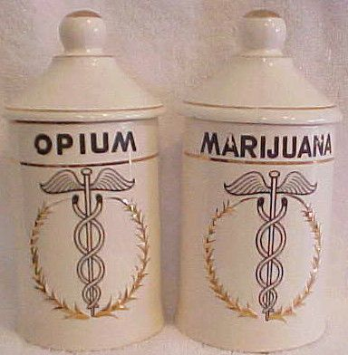 Vintage opium & marijuana apothecary jars
