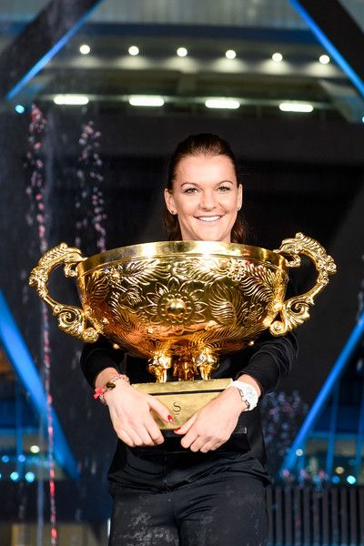 ♔Agnieszka Radwanska of Poland holds the winners trophy after winning the Women's Singles final against Johanna Konta of Great Britain on day nine of the 2016 China Open at the China National Tennis Centre on October 9, 2016 in Beijing, China.
