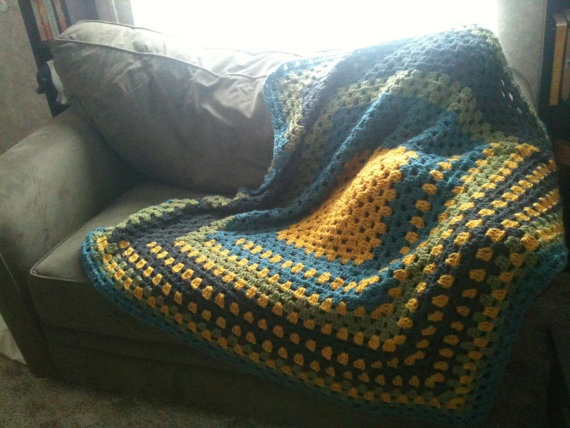 Beautiful Cozy large Granny Square Lap Blanket by Logansterling, $45.00