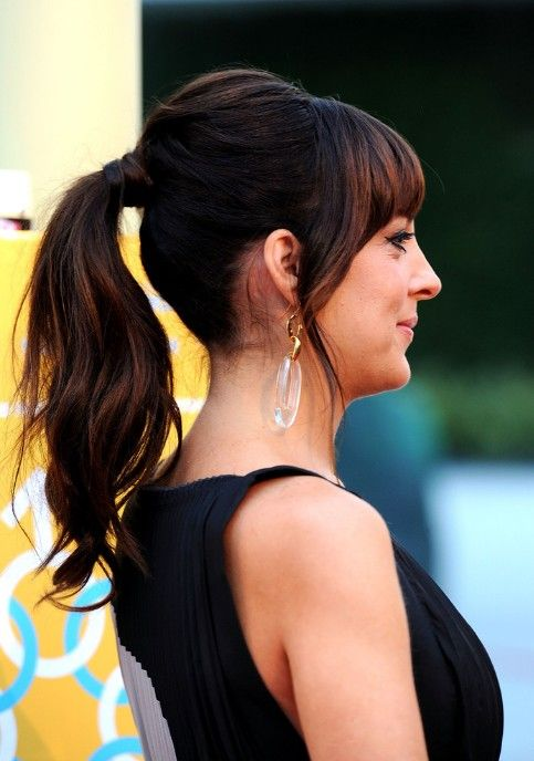how to put bangs back in a ponytail