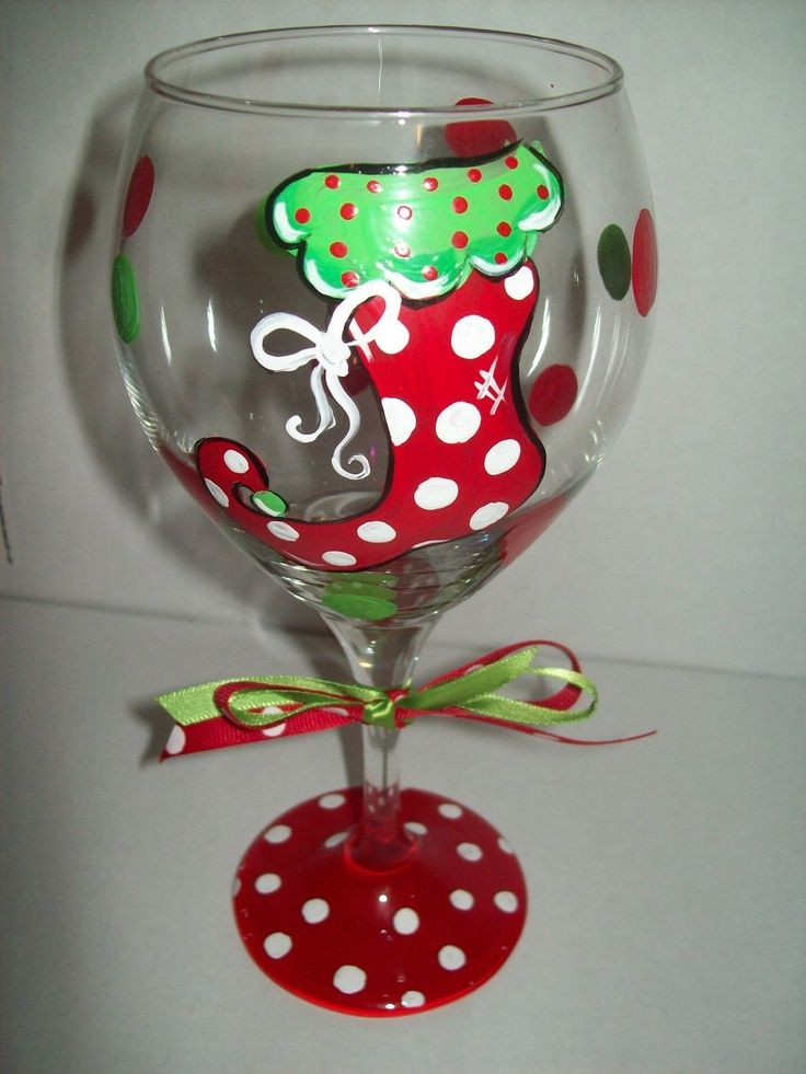 495 best wine glasses images on pinterest christmas for Holiday wine glass crafts