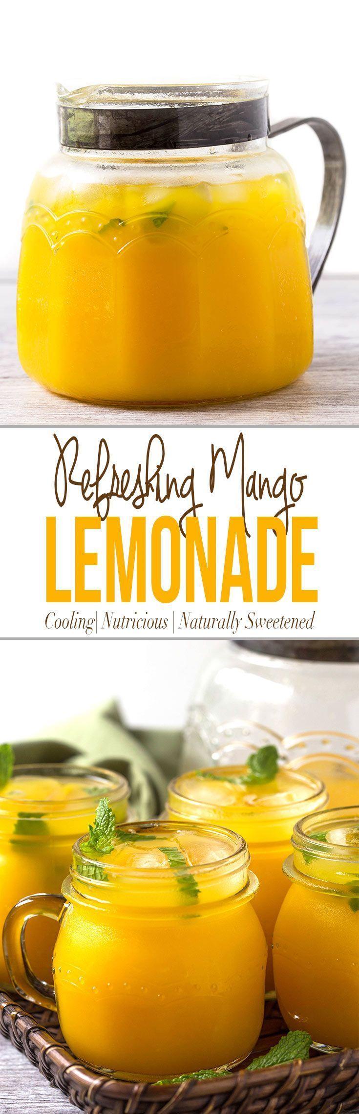 Refreshing mango lemonade to enjoy hot summer days. Prepared using fresh zesty lemon juice, honey, & mango pulp. Healthy, delicious & naturally sweetened fresh lemonade via @watchwhatueat (Vegan Bbq Dessert)