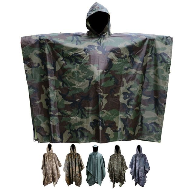 3in1 Outdoor Camping Backpack Rain Coat Poncho Camouflage Awning Mat