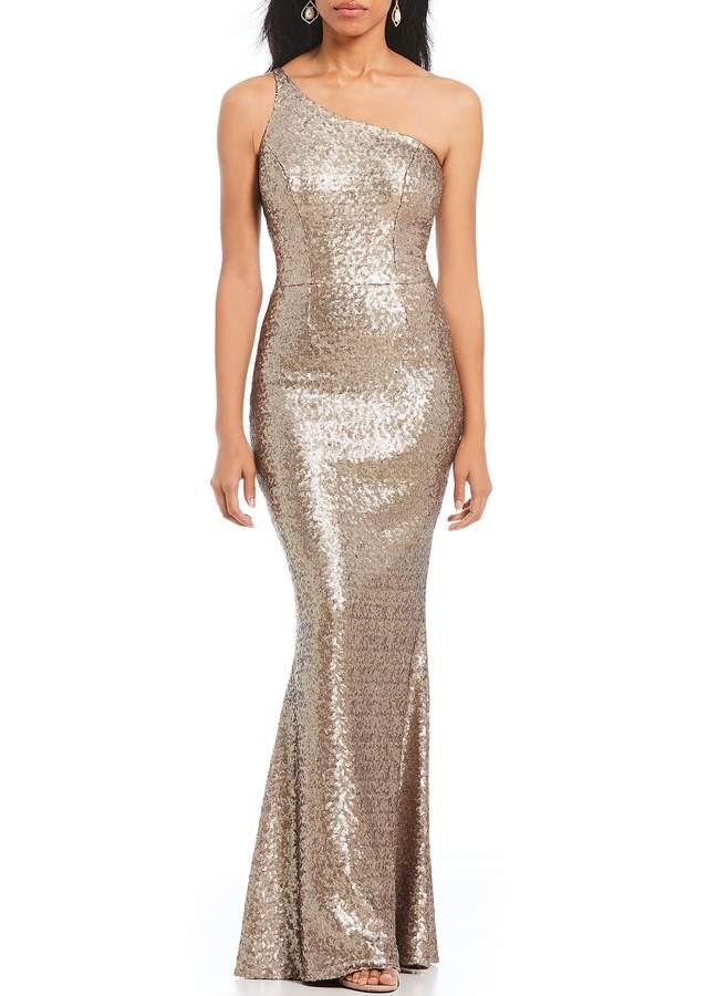 Dress the Population Bella One Shoulder Sequin Mermaid Gown