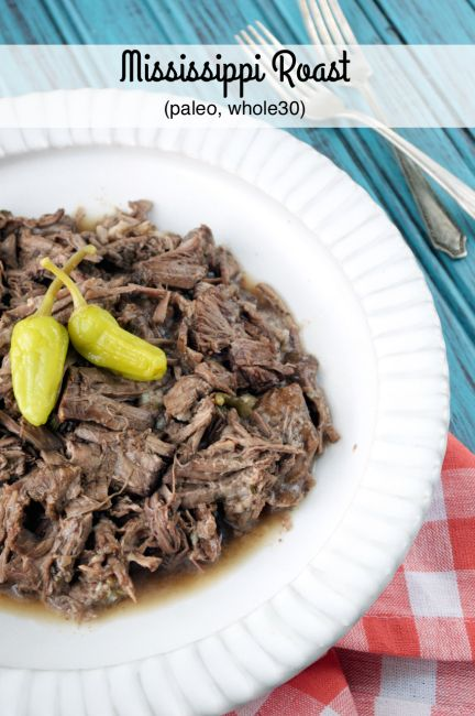 Crockpot Mississippi Roast combines ranch seasoning, beef broth and peperoncinis for a delicious meal!