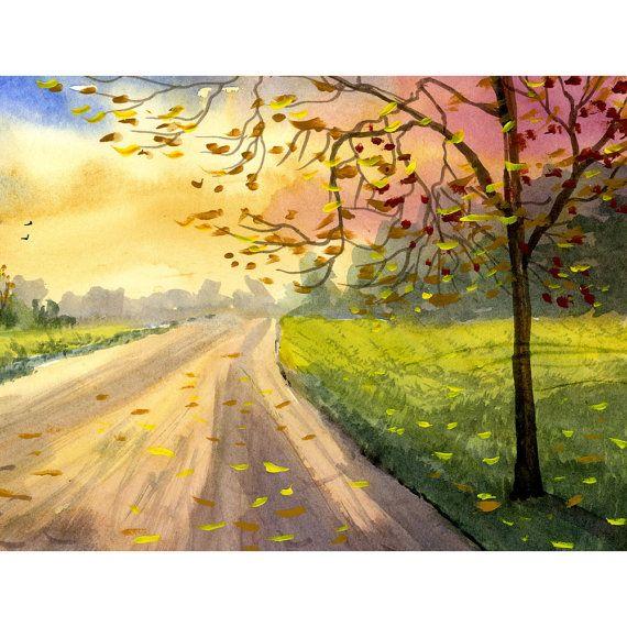 Carretera Paisaje Acuarela Pintura Print Verano 4 Cuatro Estaciones Arboles Bosque De Pais Paisajes Acuarela Pinturas En Acuarela Paisajes Pintura Paisajistica