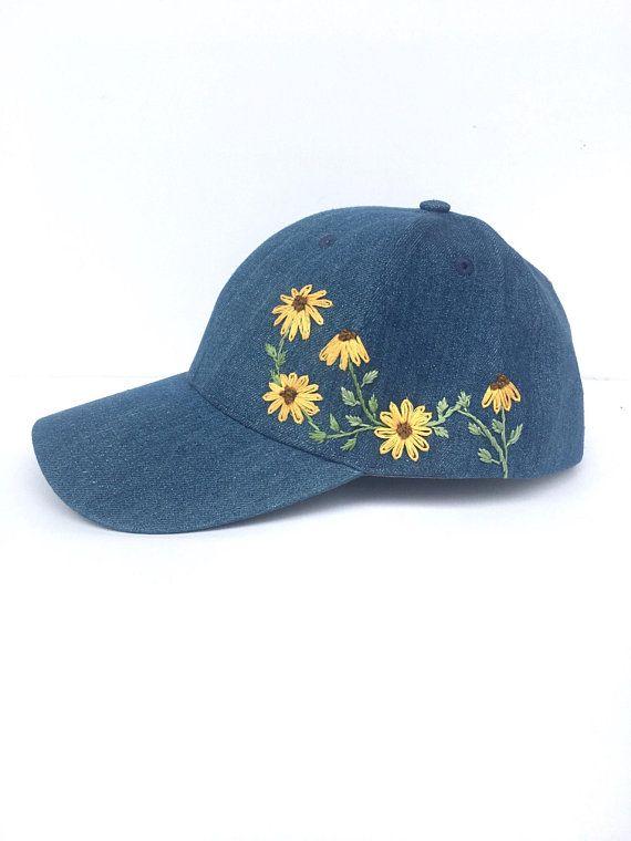Sunflower Embroidered Baseball Cap Hat Embroidery Hand Embroidery Embroidered Hats
